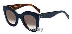 Celine Marta Women's Oversized Blue Havana Sunglasses Made In Italy 41093S 027