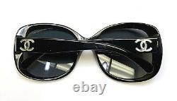 Chanel 5183 501/81 Sunglasses Polished Black / Polarized Silver CC Logo Display