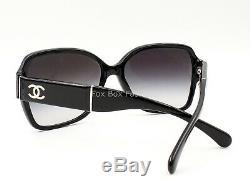 Chanel 5230Q 1345/3C Sunglasses Polished Black / White CC Logo Display