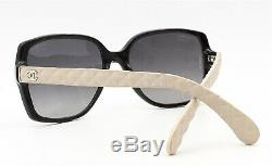 Chanel 5289-Q 817/S8 Sunglasses Black / Ivory Quilted Leather Temples Polarized