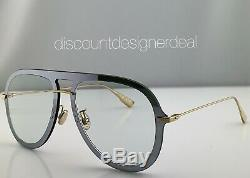 Christian Dior Ultime1 Aviator Sunglasses VGVA9 Silver Frame Clear Lens 57mm NEW