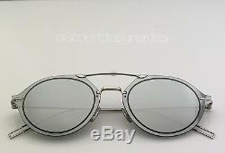 DIOR HOMME CHROMA3 Sunglasses 0100T Silver Metal Frame Silver Mirrored Lens NEW