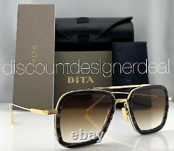 DITA FLIGHT 006 Sunglasses Gold Black Swirl Brown Gradient Lenses 7806-F-BLK-GLD