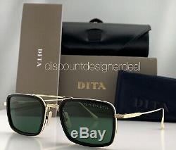 DITA FLIGHT EIGHT Rect Sunglasses Gold Black Frame Green Lens DTS134-53-02 NEW