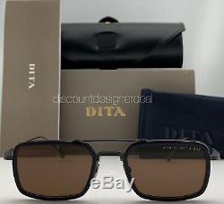 DITA FLIGHT EIGHT Rect Sunglasses Matte Black Navy Blue Brown Lens DTS134-53-03