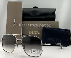 DITA FLIGHT SEVEN Sunglasses Silver Frame Gray Gradient Lens DTS111-57-01 57mm