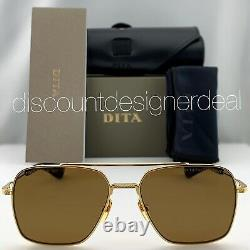 DITA FLIGHT SEVEN Sunglasses Yellow Gold Brown Polarized Lens DTS111-57-06 NEW