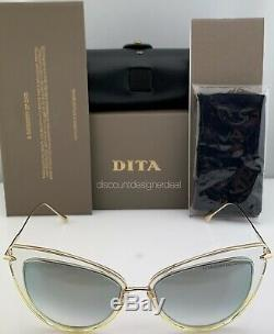 DITA HEARTBREAKER Sunglasses 22027-E-CLR-GLD Clear Gold Frame Silver Mirror Lens