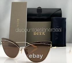 DITA INTERWEAVER Cateye Sunglasses DTS527-63-01 Gold Frame Brown Lenses NEW
