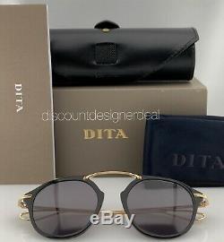 DITA KOHN Round Sunglasses DTS119-49-04 Gold Black Gray Lens 54mm Brand New