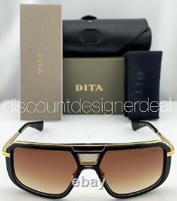 DITA MACH EIGHT Sunglasses DTS400-A-01 Matte Black Gold Brown Gradient Lens NEW