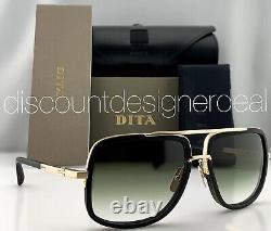 DITA MACH ONE Square Sunglasses Matte Black Frame 12K Gold Green Gradient 59 NEW