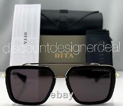 DITA MACH SEVEN Square Sunglasses DTS135-56-01 Black Gold Frame Gray Lens NEW
