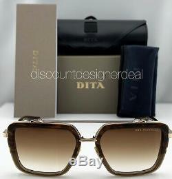 DITA MACH SEVEN Square Sunglasses DTS135-56-02 Brown Pale Gold Brown Gradient