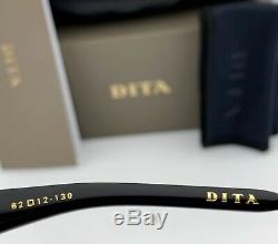 DITA MACH SIX Sunglasses DTS121-62-03 Matte Black Brown Gradient Lens 62mm NEW