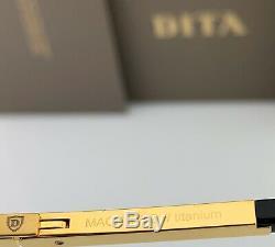 DITA MACH TWO Aviator Sunglasses 18K Gold Black Brown Gradient Lens DRX-2031B-60