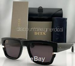 DITA SEKTON Square Sunglasses DTS122-53-01 Black Frame Yellow Gold Gray Lens NEW