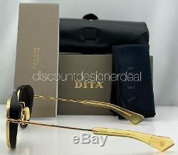 DITA SPACECRAFT Round Sunglasses Matte Black Yellow Gold Frame Brown Lens NEW 52