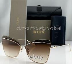 DITA STARSPANN Cateye Sunglasses DTS531-61-01 Gold Frame Brown Gradient Lens NEW