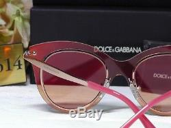 DOLCE & GABBANA DG2172 Rose Gold/Red Frame Red Mirrored Cat Eye Lens Sunglasses