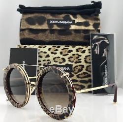 Dolce & Gabbana DG2198 Round 3-IN-1 Clip-On Sunglasses 1318/13 Gold Leo Print