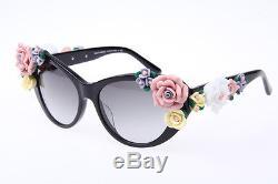 Dolce & Gabbana D&G DG4180 Authentic Flowers in Black Cat Eye Sunglasses 100% UV