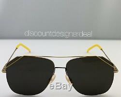 Fendi Aviator Sunglasses FF M0043/S Gold & Yellow Frame Gray Lens J5GIR 58mm NEW