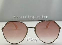 Fendi FF0194/S Sunglasses OBL0M Gold Frame Graphic Pink Gold FF Logo Lens NEW