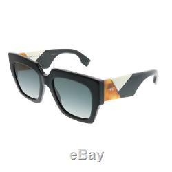 Fendi FF 0263 807 Black Plastic Square Sunglasses Dark Grey Gradient Lens
