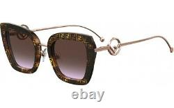Fendi FF 0408/S 086 Dark Havana Gold Brown Rose Gradient Lens Women Sunglasses