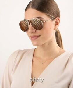 Fendi FF FAMILY FF 0407/G/S 01Q Gold Brown Monogram Large Aviator Sunglasses