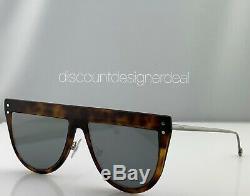 Fendi Flat Top Sunglasses FF0372/S Havana Frame Silver Mirror 086T4 55mm NEW