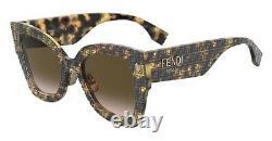 Fendi Roma FF 0434/G/S 2VM Havana Pattern Brown Gradient Lens Women Sunglasses