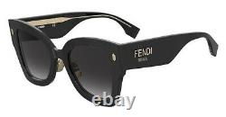 Fendi Roma FF 0434/G/S 807 Black Gold Grey Gradient Lens Large Women Sunglasses