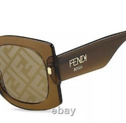 Fendi Roma FF 0436/G/S 09Q Brown Gold Brown Gradient FF Logo Women Sunglasses