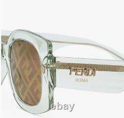 Fendi Roma FF 0436/G/S 1ED/7Y Green Gold Brown Gradient FF Logo Women Sunglasses