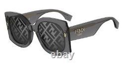 Fendi Roma FF 0436/G/S KB7 MD Grey Gold Grey Gradient FF Logo Women Sunglasses