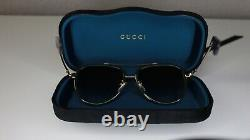 GUCCI Aviator GG0062/S 003 Gold/Green/Red 57 mm Unisex Sunglasses 0062
