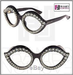 GUCCI CRYSTAL LIPS Stud 3867 Cat Eye Black Gold Frame RX Eyeglasses GG3867S