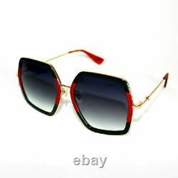 GUCCI GG0106S 007 Grey Gradient Lens Green Red Gold Square Unisex Sunglasses