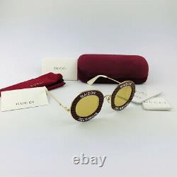 GUCCI GG0113S MAISON DE L'AMOUR Gold Red Green Round Eyewear Sunglasses Women
