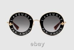 GUCCI GG0113S Sunglasses Gradient Grey Gold FRAME Black And Gold