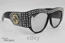 GUCCI GG0144/S Rhinestone Black Frame Light Lens Sunglasses %100 Auth FAST/FREE