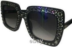 GUCCI GG0148S Black Crystal Gray Frame Oversized Sunglasses 001