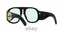 GUCCI GG0152S 001 Black Acetate Frame Blue Gradient Lens Oversized Sunglasses