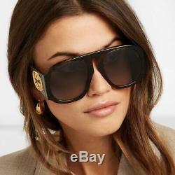 GUCCI GG0152S 002 BLACK Acetate Frame Green Gradient Lens Oversized Sunglasses