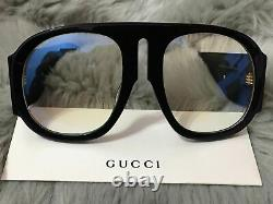 GUCCI GG0152S CLEAR Black Acetate Frame Oversized Sunglasses