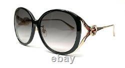 GUCCI GG0226SK 001 Black Grey Gradient Round Women's Sunglasses 60 mm