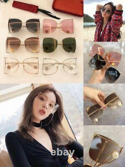 GUCCI GG0252s Brown Gold Metal Oversize Round-Frame Unisex Sunglasses (003)