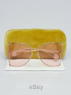 GUCCI GG0252s Pink Gold Metal Oversize Round-Frame Unisex Sunglasses (004)